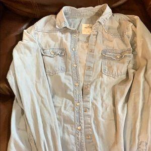 Hollister small light wash blue jean shirt